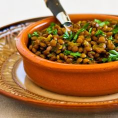 Recipe for Indian Spiced Lentils is an easy and delicious side dish.  [from KalynsKitchen.com] #Meatless #GlutenFree #IndianFlavors