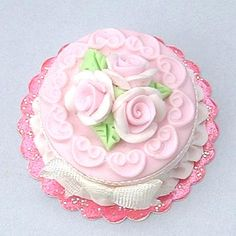 Pink roses and scrolls miniature dollhouse cake by Blue Kitty Miniatures, via Flickr