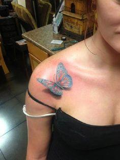 3D butterfly tattoo 35 - 65 3D butterfly tattoos  <3 <3