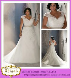 *-*China Elegant Hot Style Organza Cap Sleeve Sweep Train Lace Appliques Beaded Plus Size Wedding Dress Yj0038 - China Plus Size Wedding Dress, Wedding Dress 2014
