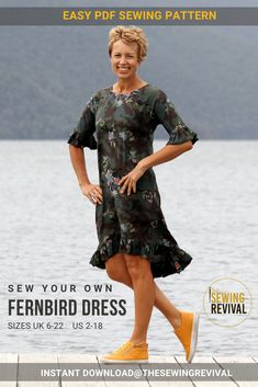 An elegant and easy sewing pattern for summer (or winter), the Fernbird Dress is feminine and relaxed. Dress it with heels for an evening or pair with sneakers for relaxed weekend wear. Available for instant download RIGHT HERE. #sewingpatternwomen #womensdresspattern #sewingforsummer Bird Dress, Modern Sewing Patterns, Weekend Wear, Sewing For Beginners, Cotton Silk, Looks Great, Feminine, Summer Dresses, Elegant
