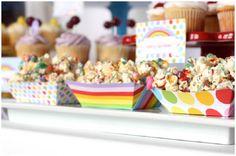 rainbow popcorn snacks, love these rainbow bowls!!