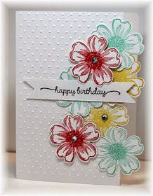 The card - lots of flowers!  The flower is a stamp and matching punch from SU.  (I do love those stamps that have matching punches!!!)  ...