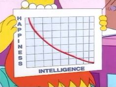 """""""As intelligence goes up, happiness often goes down. In fact, I made a graph. I make a lot of graphs.""""  This one's for you,I Love Charts(submitted bymagiagranadina)"""