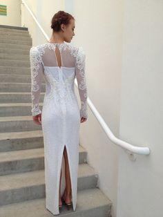 Vintage 1980's Wedding dress // Beaded illusion by ecotopiavintage, $225.00