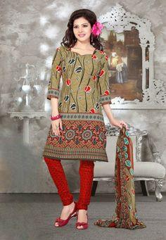 Mehendi-Red Color Crape Designer Salwar Kameez