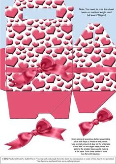 """Gable top box Valentine Hearts 1 on Craftsuprint designed by Judith Flavel - A great gift box to hold a small gift for your special Valentine, with a striking background of pink """"cushion"""" hearts and an optional decoupage ribbon bow to add extra dimension. The box itself measures 11.5 x 7.5 x 7.5 cms (4½ x 3 x 3 inches), with a handy carry handle. It is very easy to make and it folds flat for storage until it is needed. PLEASE NOTE that you need to print this sheet twice to make one box. I…"""