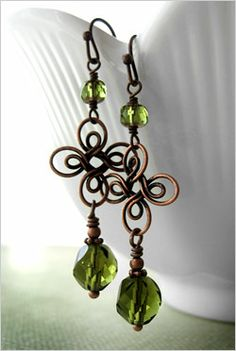 Lucky four leaf clover earrings with antiqued copper
