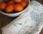 Linen Tea Towel- Scandinavian Folk Birds - Hand Screen Printed Dish Towel- Organic. $18.00, via Etsy.