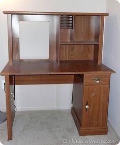 Old Computer Desk Hutch Makeover