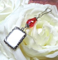 Wedding bouquet photo charm. Memorial picture frame charm with Red teardrop crystal. Bridal bouquet charm with small picture frame. (8.99 USD) by SmilingBlueDog