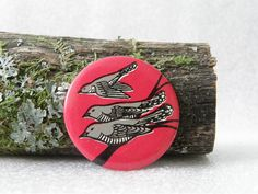 Soviet cuckoo birds vintage metal nature button / badge - made in Russia, USSR era