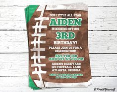 1st Birthday American Football Invitation / Personalized