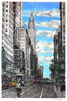 Chrysler Building with street scene in New York - drawings and paintings by Stephen Wiltshire MBE