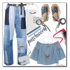 """""""Denim patchwork"""" by anne-977 ❤ liked on Polyvore featuring Hollister Co., Off-White, Madewell, Dorothy Perkins, Lapcos, Wet Seal, patchwork and polyvorecontest"""