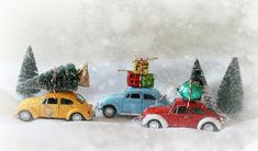 Autka, Choinki, Prezenty, Śnieg, Zima, Boże Narodzenie