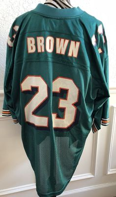 c615375e178ec NFL Men's Reebok #23 Brown Authentic Miami Dolphins Size XL Teal Jersey  Vintage | eBay