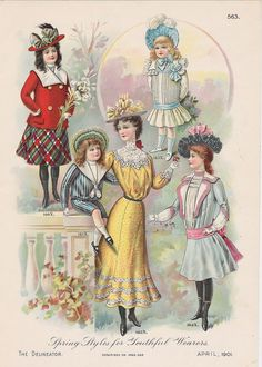 Buyenlarge 'Spring Styles for Youthful Wearers' Vintage Advertisement Moda Vintage, Vintage Art, Vintage Images, Edwardian Era, Edwardian Fashion, Vintage Fashion, Spring Fashion, Kids Fashion, Retro Mode