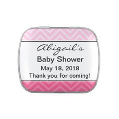 Personalized Chevron Baby Shower Candy Tin