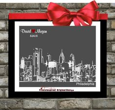 Unique Personalized Wedding Gift. Philadelphia Art Skyline Print. City Of Love. Any Skyline or Area Location. Cityscape of Philly. Personalized Anniversary Present.  Custom For Him. https://www.etsy.com/listing/127170324/philadelphia-art-skyline-print  $19.99