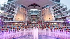 "The biggest cruise boat in the world, ""Harmony of the Seas"" Harmony Of The Seas, Cruise Boat, Royal Caribbean, Marina Bay Sands, Oasis, Aqua, Entertaining, World, Building"