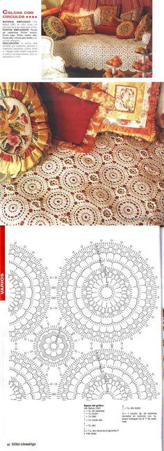 This Pin was discovered by Bar Crochet Bedspread Pattern, Crochet Motif Patterns, Crochet Curtains, Crochet Tablecloth, Crochet Diagram, Filet Crochet, Crochet Designs, Crochet Doilies, Crochet Lace