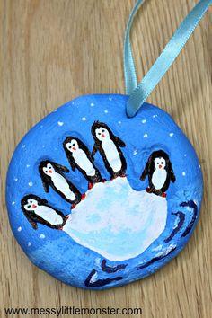 Penguin Craft - This salt dough handprint ornament is the perfect handmade ornam. - Penguin Craft – This salt dough handprint ornament is the perfect handmade ornament for toddlers, - Christmas Ornament Crafts, Handmade Christmas Gifts, Handmade Ornaments, Handmade Gifts, Handmade Items, Xmas Gifts, Salt Dough Christmas Decorations, Reindeer Christmas, Baby Crafts