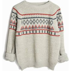 Vintage 70s Nordic Ski Sweater in Gray Taupe women's medium/large ($79) ❤ liked on Polyvore featuring tops, sweaters, gray crew neck sweater, vintage tops, crew-neck sweaters, grey top and vintage crew neck sweaters