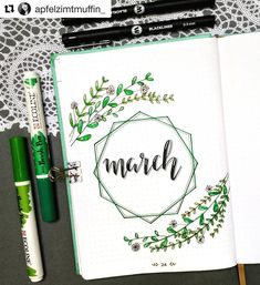 Bullet Journal Monthly Cover Ideas For March 2019 - Crazy Laura This monthly cover for march is sooo cute! 🌿🌿 Check out the rest of the list for more super f Bullet Journal School, Bullet Journal Cover Ideas, February Bullet Journal, Bullet Journal Writing, Bullet Journal Headers, Bullet Journal Aesthetic, Bullet Journal Notebook, Bullet Journal Layout, Journal Covers