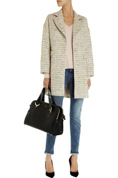 Iris & InkCassie tweed cocoon coatfront. Perfect for dressing up for a nice occasion or as shown here dressing down for a weekend look