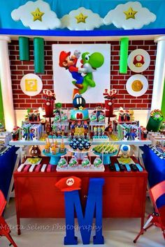 Super Mario Bros by Sweet Memories Party Designs - Inspire sua Festa ® Super Mario Party, Super Mario Bros, Super Mario Birthday, Mario Birthday Party, 6th Birthday Parties, 7th Birthday, Birthday Ideas, Mario Bros Cake, Super Mario Cake