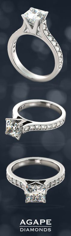 This magnificent Cathedral Style Engagement Ring with Side Accents is made to order and it is available in either 14K or 18K White or Yellow Gold as well as Platinum.  The Engagement Ring can be customized to your exact specifications and can accommodate a center stone from 1 to 3 carats and it comes as pictured with an additional .56CTW in Side stones.