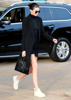 Kendall Jenner | black turtleneck mini dress + white sneakers + coat
