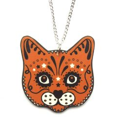 Sugar Skull Style Ginger Cat Necklace by Dolly Cool Kitty Day of the Dead
