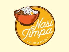 """This project is commissioned by Local client, """"Nasi Timpa"""" that means a bowl of rice topped with spicy chicken, meat, or salted squid. I've created rice bowl icon with hand drawn style that repres. Cake Logo Design, Food Logo Design, Badge Design, Logo Design Services, Branding Design, Food Brand Logos, Food Branding, Logo Food, Branding Kit"""