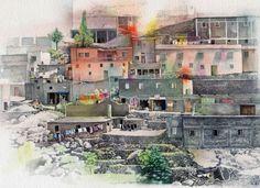 Liz Butler RWS, Berber Hill Town, Morocco, watercolour