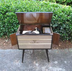 Vintage Record Player Stereo Console - Mid Century Modern Delmonico Hi Fi from The Vintage Resource on Etsy