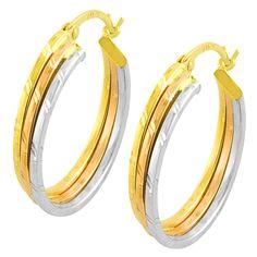 Fremada 14k Tri-color Diamond-cut Stacked Flat Hoop Earrings