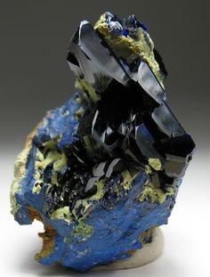 Azurite on matrix / Mineral Friends <3