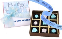 A box with 9 assorted chocolates wrapped in blue and silver for the welcome of the new arrival. Perfectly finished with a matching bow and ribbon. A great gift for birthdays too. Chocolate Wrapping, Birthday Chocolates, A Star Is Born, Blue And Silver, Birthday Gifts, Great Gifts, Baby Boy, Candy, Box