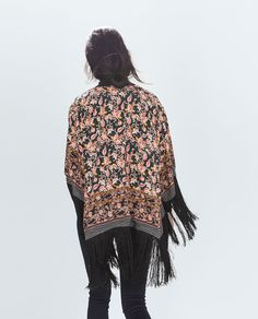 Image 4 of PRINTED JACKET WITH FRINGES from Zara