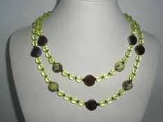 Lime Czech Glass Crystals and  Lavender coins and by yasmi65, $28.00