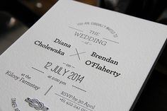 These stunning invitations were printed for Diana and Brendan's big day! The invitations feature a single sided black print on our 300gsm Crane Lettra pearl white cotton stock.