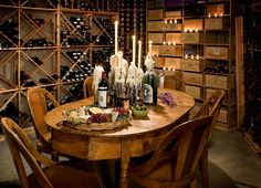 I'm delighted with the ambiance... wonderful centerpiece arrangement of candles with abundant wax overflow all over the wine bottles.  Just start with the cheese and crackers and stay in this room for the entire meal!