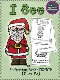 "Christmas Emergent Reader - Free. I'm making a sentence strip to use with this , "" I see the -----"" an using clip art/ pictures of Christmas things that would be in our home, like the tree, lights,etc..... then have Mr. Cutie say."