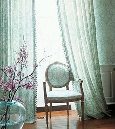 Turquoise and lavender color Manhattan Damask trim detail on drapery