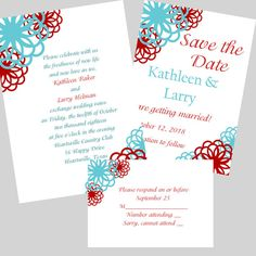 red and teal wedding save the date | ... Wedding Invitation, RSVP and Save the Date Wedding Package Set on Etsy