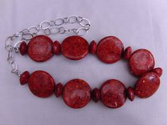 Necklace Beaded Necklace Jewellery Coral Red by OswestryJewels