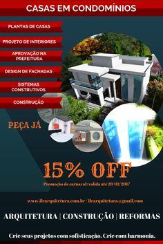 projeto de arquitetura, plantas de casas, casas em condomínios, design de fachadas.
