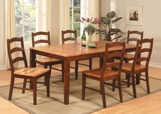9-PC DINETTE DINING ROOM SET TABLE w/ 8 WOOD SEAT CHAIRS IN ESPRESSO & CINNAMON #EastWestFurniture #Transitional